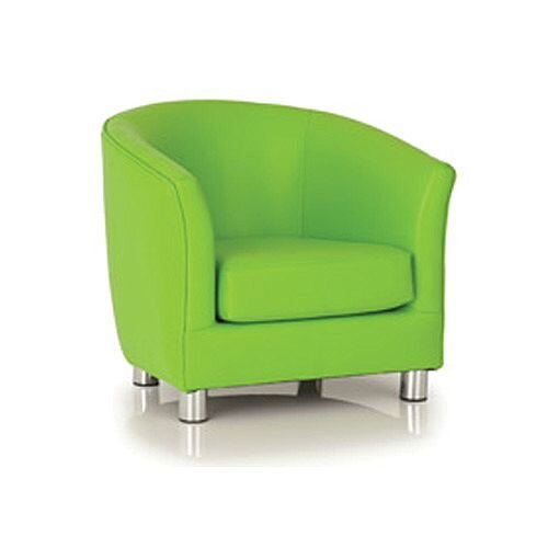Lime Green Tub Chair - With A Removable Cushion, Hardwood base, Long Lifespan, Leather Fabric, Suitable for Heavy Use