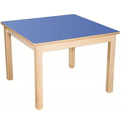 Square Preschool Table Beech Blue 800x800mm 46cm High TC34601