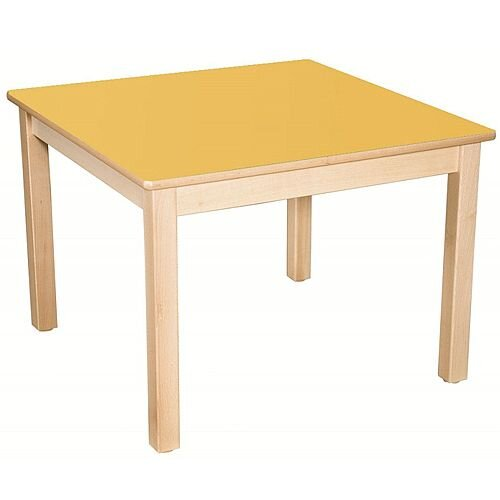 Square Preschool Table Beech Yellow 800x800mm 46cm High TC34604
