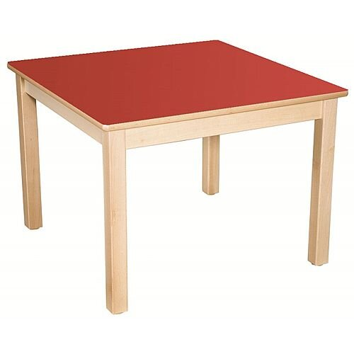 Square Preschool Table Beech Red 800x800mm 52cm High TC35202