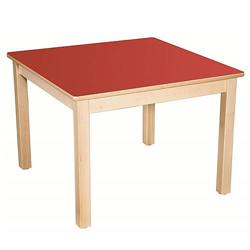 Square Primary School Table Beech Red 80x80cm 71cm High TC37102