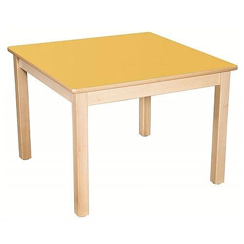 Square Primary School Table Beech Yellow 80x80cm 70cm High TC37004