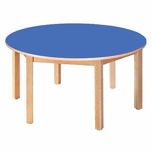 Round Pre-School Table Beech Blue 120 Diameter 46cm High TC94601