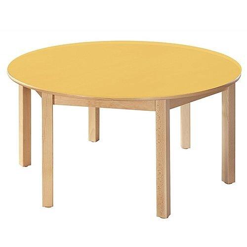 Round Primary School Table Beech Yellow 120cm Diameter 64cm High TC96404