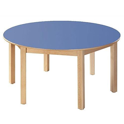 Round Primary School Table Beech Blue 120cm Diameter 70cm High TC97001