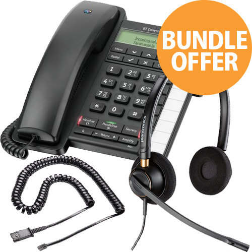 Office Telephone Bundle - BT Converse 2300 - EncorePro HW520 Headset - JPL U10P QD Cable - Desktop Office Phone Kit