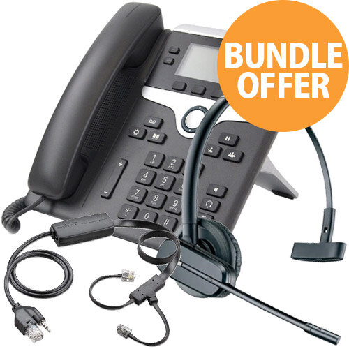 Cordless Office Telephone Bundle - Cisco 7841 IP - Plantronics CS540/A - EHS APC-43 Cable - Wireless Desktop Office Phone Kit