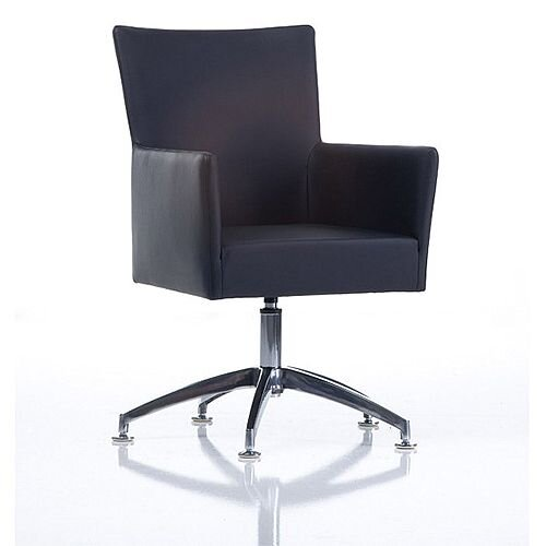 TIME Reception / Conference Room Leather Look Chair Spider Base Black