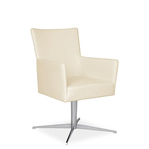 TIME Reception / Conference Room Leather Look Chair With Star Base Cream