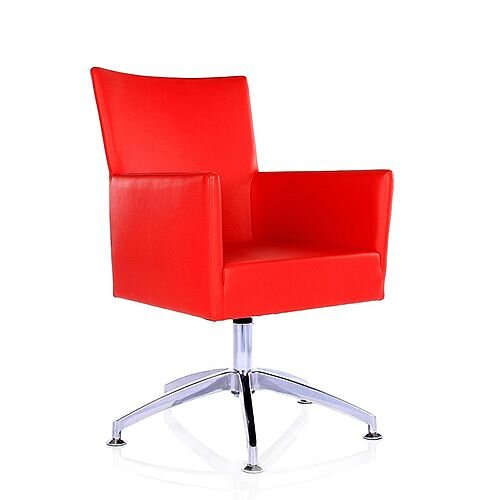TIME Reception / Conference Room Leather Look Chair Spider Base Red