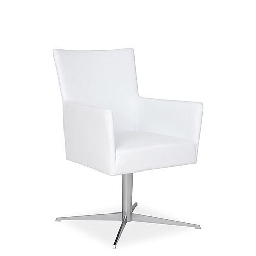 TIME Reception / Conference Room Leather Look Chair With Star Base White