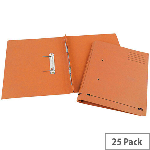 Transfer Spring File Recycled Foolscap Orange 35mm Pack 25 Elba Spirosort