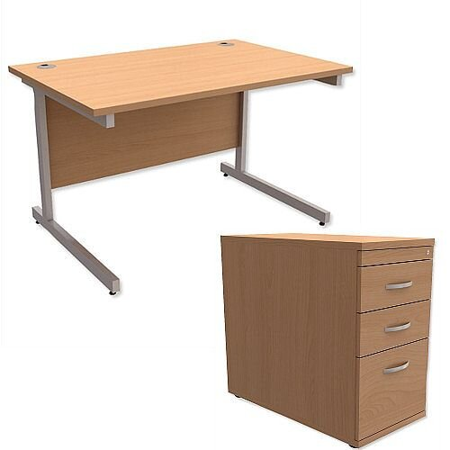 Office Desk Rectangular Silver Legs W1200mm With 800mm Deep Desk High Pedestal Beech Ashford