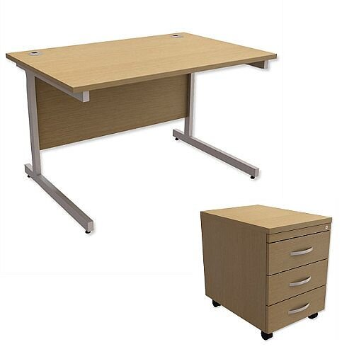 Office Desk Rectangular Silver Legs W1200mm With Mobile 3-Drawer Pedestal Urban Oak Ashford  – Cantilever Desk &Extra Storage , 25 Year Warranty