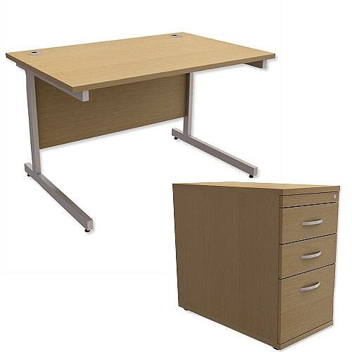 Office Desk Rectangular Silver Legs W1200mm With 800mm Deep Desk High Pedestal Urban Oak Ashford  – Cantilever Desk &Extra Storage , 25 Year Warranty