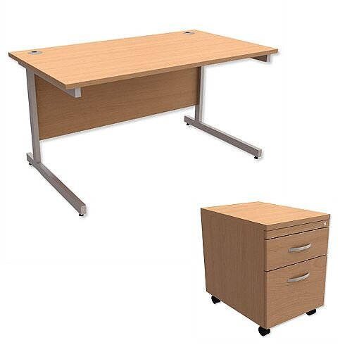 Office Desk Rectangular Silver Legs W1400mm With Mobile 2-Drawer Pedestal Beech Ashford