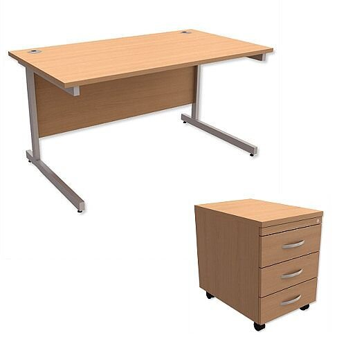 Office Desk Rectangular Silver Legs W1400mm With Mobile 3-Drawer Pedestal Beech Ashford