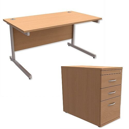 Office Desk Rectangular Silver Legs W1400mm With 800mm Deep Desk High Pedestal Beech Ashford