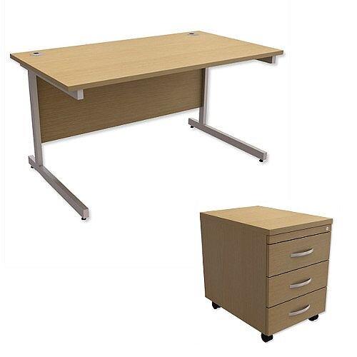 Office Desk Rectangular Silver Legs W1400mm With Mobile 3-Drawer Pedestal Urban Oak Ashford – Cantilever Desk &Extra Storage , 25 Year Warranty