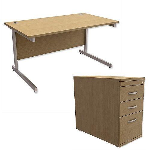 Office Desk Rectangular Silver Legs W1400mm With 800mm Deep Desk High Pedestal Urban Oak Ashford  – Cantilever Desk &Extra Storage , 25 Year Warranty