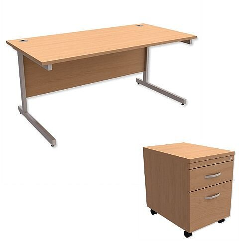 Office Desk Rectangular Silver Legs W1600mm With Mobile 2-Drawer Pedestal Beech Ashford