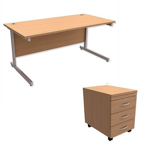 Office Desk Rectangular Silver Legs W1600mm With Mobile 3-Drawer Pedestal Beech Ashford