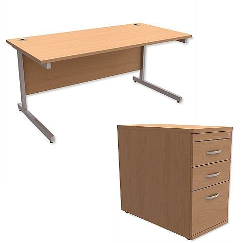 Office Desk Rectangular Silver Legs W1600mm With 800mm Deep Desk High Pedestal Beech Ashford