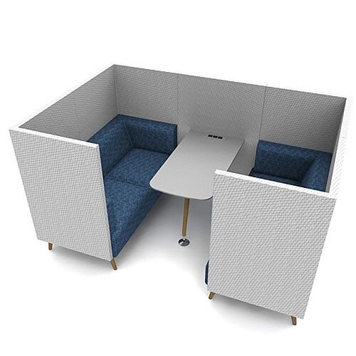 Meeting Pod TRYST 4 Seater Grey &Blue STK27