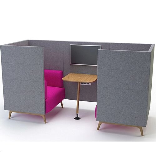 Meeting Pod TRYST 2 Seater Booth Grey &Claret STK7