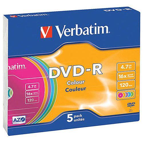Verbatim DVD-R 16X Non-Printable Slim Case Pack of 5 43557