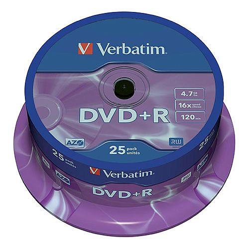 Verbatim DVD+R 16x 4.7GB Spindle Pack of 25 43500