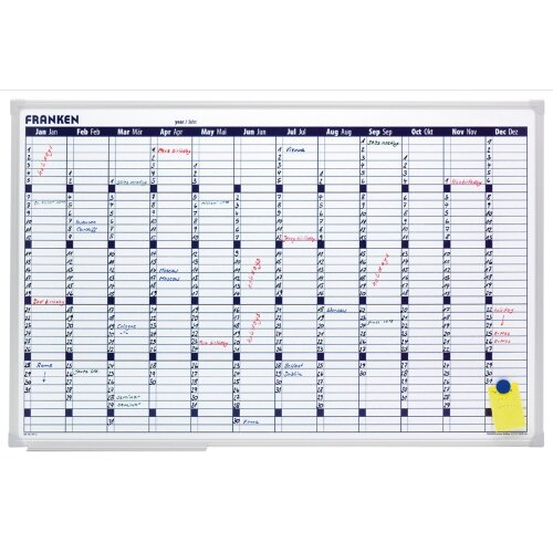 Franken Annual Planner 900 x 600mm - 58 x 14mm Day Grid, Magnetic, Dry Marker, Accessory Kit, Horizontal Layout, Aluminium &Wall Mountable (VO-12)