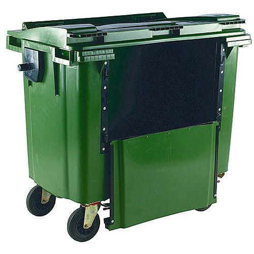 Wheelie Bin 1100 Litre with Drop Down Front Flat Lid Green