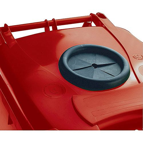 Wheelie Bin 120 Litre with Bottle Bank Aperture and Lid Lock Red 124552