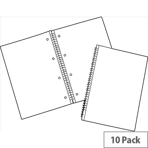 White Box Wirebound Notebook Ruled 100 Pages A4 [Pack 10]