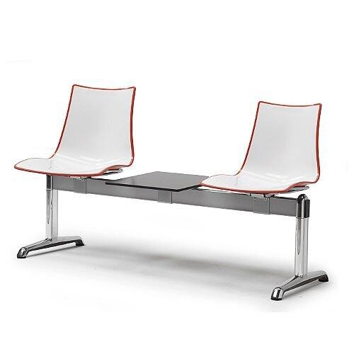 Zebra Bicolore 2 Seater Bench With Table White/Orange