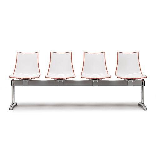 Zebra Bicolore 4 Seater Bench White/Orange