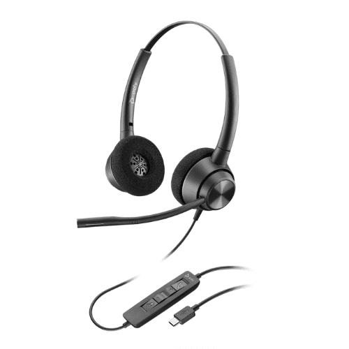 Plantronics POLY EncorePro 320 USB Headset - Boom Microphone, Noise Cancelling, Comfortable - USB Port, Stereo Binaural, Lightweight - Black