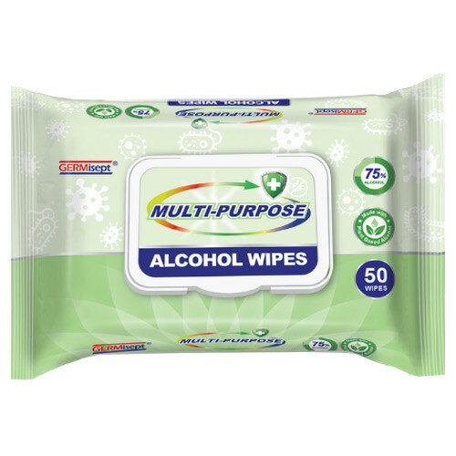 Germisept Multipurpose 75% Alcohol Wipes 50 Wipes Per Pack (6 Pack)