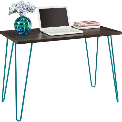Owen Retro Home Office Desk - Espresso with Teal Frame