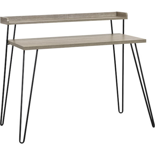 Haven Retro Home Office Desk with Riser – Distressed Grey