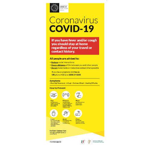 Covid-19 Public Health AdvicePop Up Sign 850x200mm