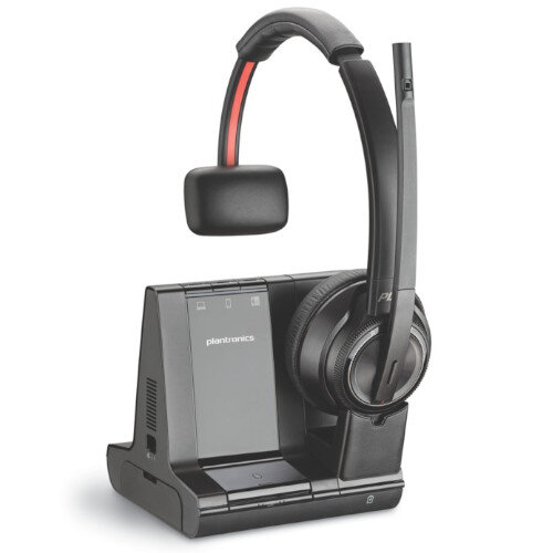 Plantronics W8210-M Savi 3-in-1 Office Headset - Wireless, Monaural - DECT, Bluetooth 4.2 - Boom Microphone - Designed for Phone, Computer - Ref. 207322-02
