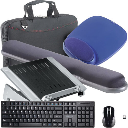 """Working from Home Office Bundle Kit - Laptop Riser, Keyboard and Mouse Set, Mouse Pad, Wrist Rest, Laptop Bag 15.6"""" - All in One Set"""