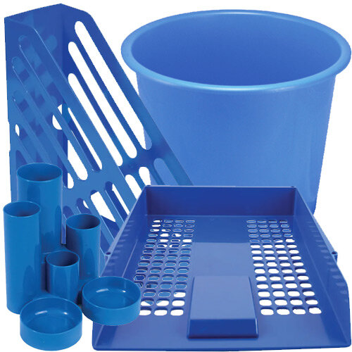 Q-Connect Desk Tidy Blue Bundle Set - Desk Tidy & Magazine Rack & Waste Bin & Letter Tray Pk 2 & Letter Tray Risers
