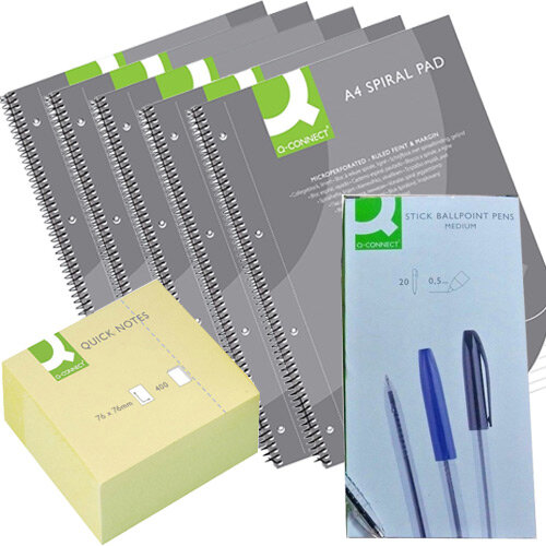 Q-Connect Home Office Stationery Bundle - Sticky Notes & Pens Pk 50 & Notepads Pk 5