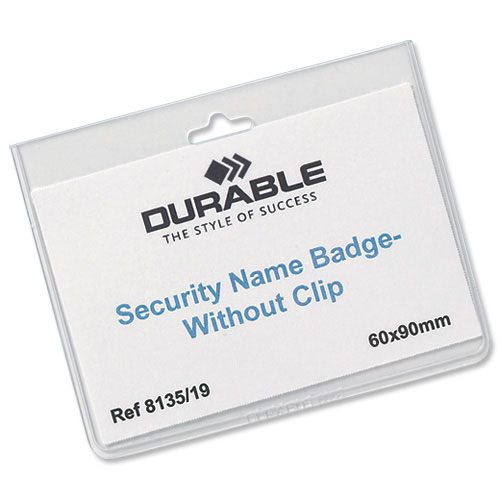 Durable security name badges 90 x 60mm pack 20 for Porte badge 60 x 90
