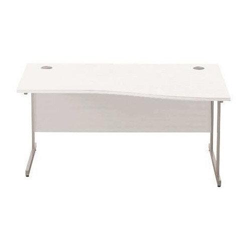 Sonix Slim Wave Right Hand Cantilever Office Desk W1600xd800 600mm Silver Leg Polar White