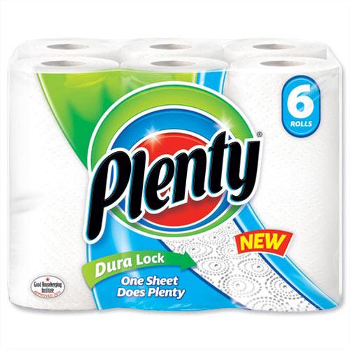 Plenty Kitchen Paper Towels Rolls 2 Ply White 60 Sheets