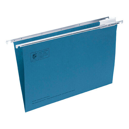 5 Star Office Suspension File with Tabs and Inserts Manilla 15mm V-base 180gsm Foolscap Blue Pack 50